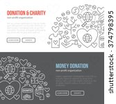 banner template with charity... | Shutterstock .eps vector #374798395