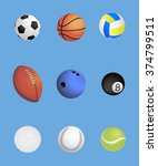 sports balls set on blue... | Shutterstock .eps vector #374799511