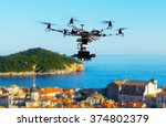 professional heavy drone with a ... | Shutterstock . vector #374802379