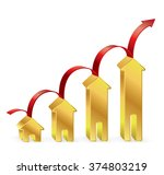 gold house graph with red arrow ... | Shutterstock .eps vector #374803219