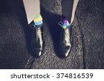 man in bright socks | Shutterstock . vector #374816539