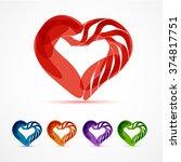 hearts. vector set. color hearts | Shutterstock .eps vector #374817751