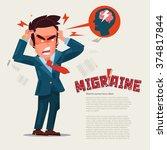 man suffering headache and... | Shutterstock .eps vector #374817844