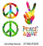 set of pacific hippie symbol... | Shutterstock .eps vector #374819305