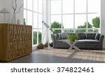 modern bright interior. 3d... | Shutterstock . vector #374822461