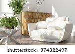 modern bright interior. 3d... | Shutterstock . vector #374822497