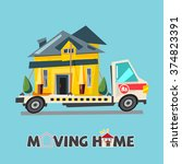 home on truck. moving home... | Shutterstock .eps vector #374823391