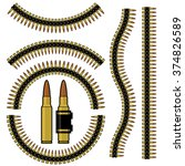 bullet and machinegun cartridge ... | Shutterstock .eps vector #374826589