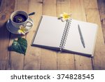 room with a cup of coffee at...   Shutterstock . vector #374828545
