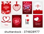 valentine s day backgrounds set.... | Shutterstock .eps vector #374828977