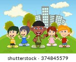 children playing in the park... | Shutterstock .eps vector #374845579