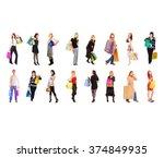 crowd of shoppers money is... | Shutterstock . vector #374849935