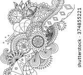 mandala flowers for coloring... | Shutterstock .eps vector #374855221
