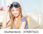 travel tourism and people... | Shutterstock . vector #374857621