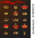 set of beautiful golden crowns  ... | Shutterstock .eps vector #374858719