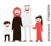 happy muslim family   vector... | Shutterstock .eps vector #374860504