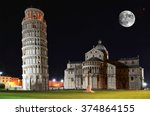 basilica and the leaning tower... | Shutterstock . vector #374864155