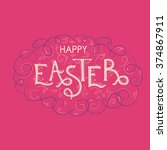 happy easter hand lettering... | Shutterstock .eps vector #374867911