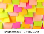 many colorful stickers on white ... | Shutterstock . vector #374872645