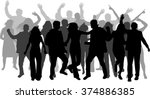 dancing people silhouettes. | Shutterstock .eps vector #374886385