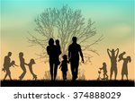 family silhouettes in nature. | Shutterstock .eps vector #374888029
