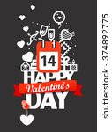happy valentines day greeting...   Shutterstock .eps vector #374892775