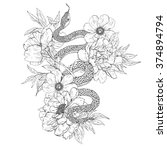 snakes and flowers. tattoo art  ... | Shutterstock .eps vector #374894794
