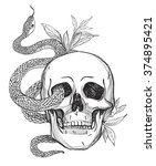 Skull And Snake. Tattoo Art ...
