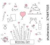 wedding doodle set  a lot of... | Shutterstock .eps vector #374897035