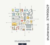 education integrated thin line... | Shutterstock .eps vector #374900629