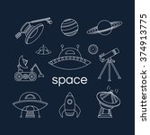 set of space linear icons.... | Shutterstock .eps vector #374913775