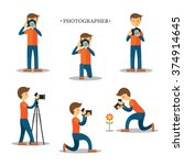photographer with camera in... | Shutterstock .eps vector #374914645