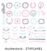 big set of floral graphic... | Shutterstock .eps vector #374916481