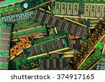 Small photo of computer memory modules as background. dimm simm sdram ddr chips on boards.