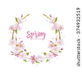 cherry blossom spring... | Shutterstock .eps vector #374932519