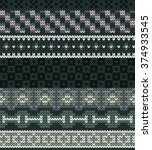 knitted seamless pattern in... | Shutterstock .eps vector #374933545