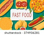 fast food banner with hamburger ... | Shutterstock .eps vector #374936281