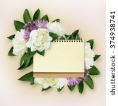 peony and wild flowers bouquet... | Shutterstock . vector #374938741