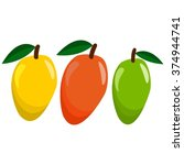 juicy mango set in yellow  red... | Shutterstock .eps vector #374944741