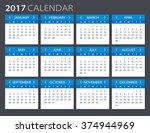 2017 calendar   illustration... | Shutterstock .eps vector #374944969