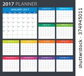 2017 planner   illustration... | Shutterstock .eps vector #374945011
