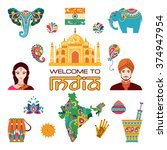 set of indian flat icons ... | Shutterstock .eps vector #374947954