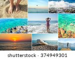 mosaic travel collage of summer ... | Shutterstock . vector #374949301