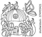 Coloring Pages Mushroom House...