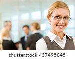 portrait of happy businesswoman ...   Shutterstock . vector #37495645