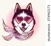 hipster husky dog in sunglasses.... | Shutterstock .eps vector #374962171