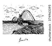 juscelino kubitschek bridge ... | Shutterstock .eps vector #374963395