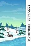 cartoon winter landscape ...