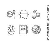 cooking pizza line icons set.... | Shutterstock .eps vector #374973841