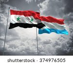 syria   luxembourg flags are... | Shutterstock . vector #374976505